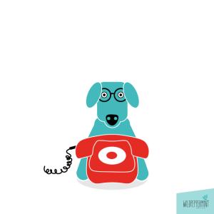 Hund mit Telefon, Kontakt Telefon, Illustration, Flatdesign, © wildpeppermint-design.de