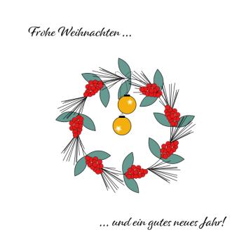 Weihnachtskarte Kranz, Kugel, © wildpeppermint-design.de