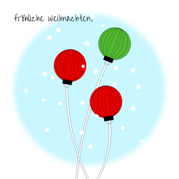 Weihnachtskarte Kugeln am Stab, © wildpeppermint-design.de