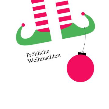 Weihnachtskarte Wichtel und Kugel, © wildpeppermint-design.de