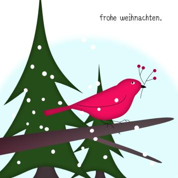 Weihnachtskarte Vogel im Waldmit Stern© wildpeppermint-design.de