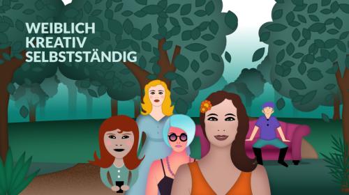 Facebookgruppe, kreativ, weiblich, selbstständig, wildpeppermint-design, illustration Frauen