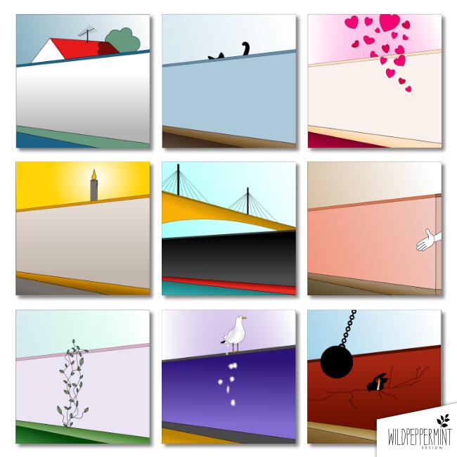 Mauern, Brücken bauen, Mauern überwinden, Metaphern, Illustrationen, minimal, wildpeppermintDesign