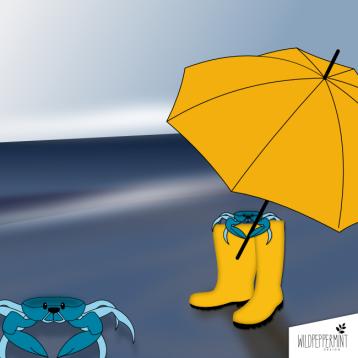 Krabben, Watt, Meer, gelbe Gummistiefel, lustige Illustration, wildpeppermint-design