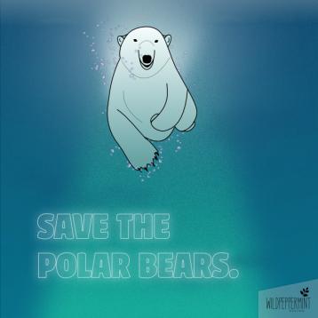 Eisbär, polarbear, Illustration, Meer, Ocean, Grafische Illustration, Naturschutz Illustration, Vectorgraphic, wildpeppermint-design