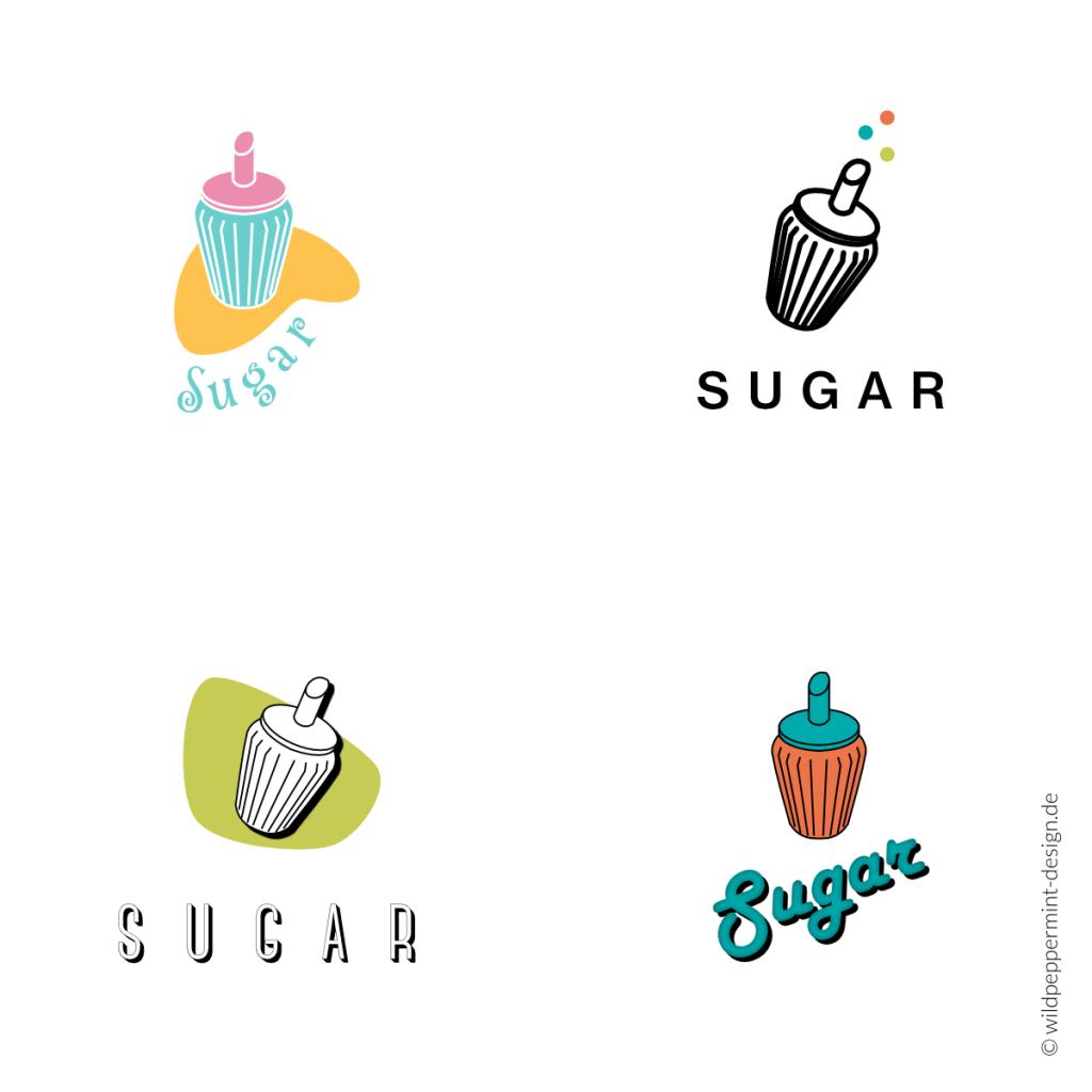 Zuckerlogos, Logoentwürfe Zuckerstreuer, Küche, Food, Süßes, 50er Jahre, Retrostyle, Retro Logos