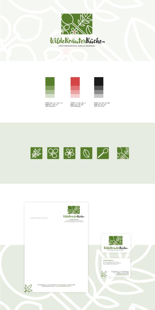 Corporate Design WildeKräuterKüche, Logo, Kräuter, Briefpapier, Visitenkarten, Icons, Favicon, © wildpeppermint-design.de